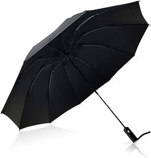 Heavy Duty Windproof Travel Umbrella Compact Reverse Folding 10 Rib Auto Open with Mount