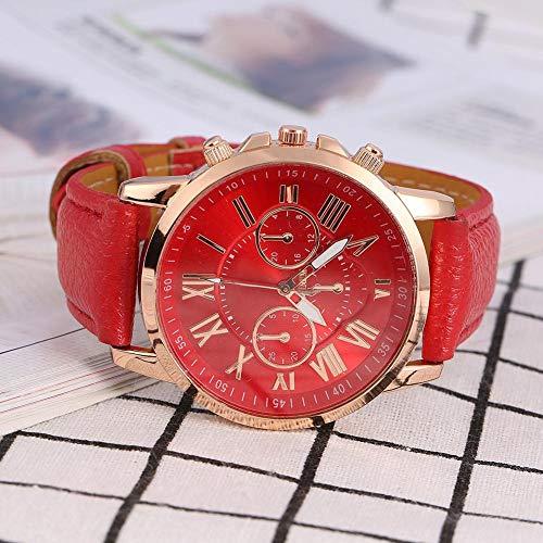Reloj de pulsera, reloj de correa de cuero PU, reloj de cuarzo analógico redondo, reloj de pulsera de moda para hombre mujer(4)