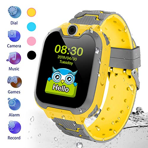 HuaWise Kids Smartwatch[SD Card Included], Waterproof Smartwatch for Kids with Quick Dial, SOS Call, Camera and Music Player, Birthday Gift Game Watch for Boys and Girls(Not Support AT&T) (Yellow)