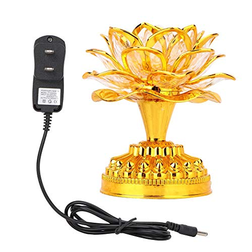 LED Lotus Lamp 7 Colorful Golden Buddha Night Light with 36pcs Buddhist Songs and 110-240V US Plug for Home Office Yoga Meditation Room