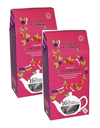 English Tea Shop Infusión Orgánica de Fresas Dulces Arándanos jugosos y frambuesas Maduras Sin Cafeína Recibió Una Colección de té escogida a mano por Sri Lanka - 2 x 16 Pirámide de seda (64 gramos)