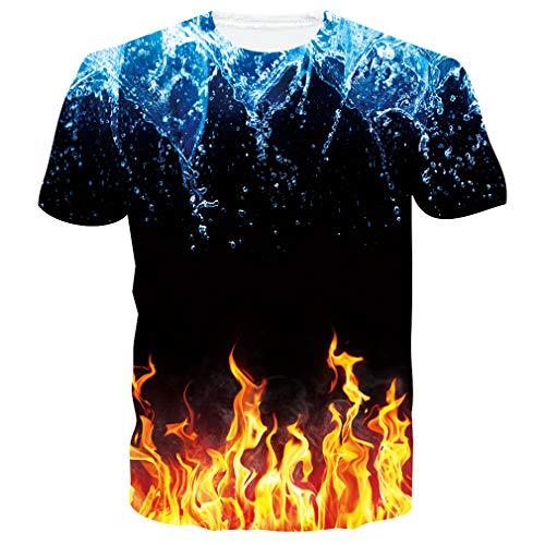 RAISEVERN Verano 3D Tie Dye Camiseta para Hombres con Cuello Redondo de Manga Corta de Hombre a Hombre Top Tees