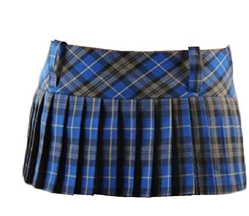 9 Inch Women's Sexy Pleated Tartan Skirt Schoolgirl Fancy Dress Costume (Blue & Grey) (14)