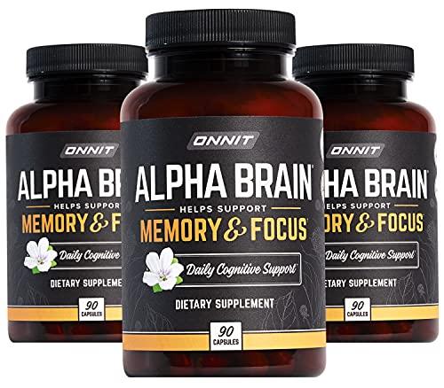 ONNIT Alpha Brain (270ct) - Over 1 Million Bottles Sold - Premium Nootropic Brain Supplement - Focus, Concentration & Memory - Alpha GPC, L Theanine & Bacopa Monnieri