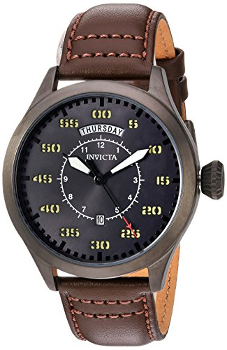 Invicta Men's Aviator Stainless Steel Quartz Watch with Leather Calfskin Strap, Brown, 22 (Model: 22975)