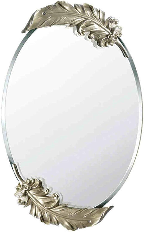 ZHBWJSH European Bathroom Mirror Waterproof Bathroom Fashion Feather Wall Mirror Vanity Mirror gold