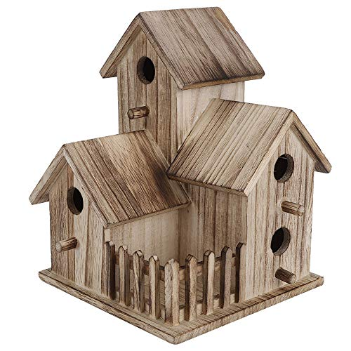 Casas para pájaros para exteriores, pajareras de madera de 3 capas decorativas para pájaros bebés proporcionan refugios seguros para la cría de golondrinas, loros, otros animales salvajes, resistente