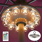 Umbrella Lights Battery Operated,12 Color Changing Outdoor Patio Umbrella Light for Pole with 80Ft RF Remote,12 Clear Bulb 48 LEDs,4 Modes,4 Timer Option,Umbrella Hanging Light for Camping,BBQ
