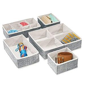 mDesign Fabric Dresser Drawer, Closet Storage Bins, Set of 5