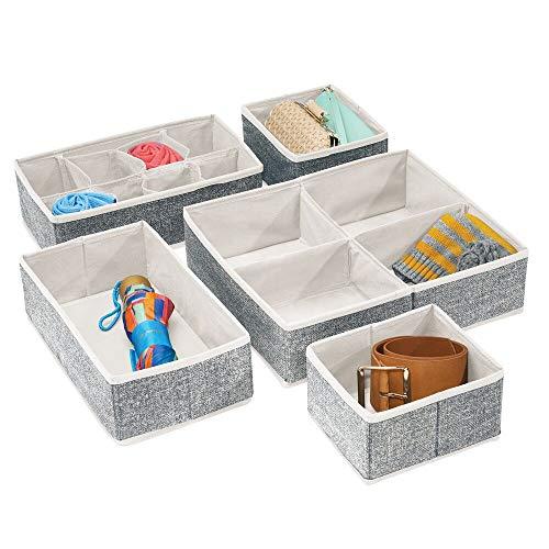 mDesign 5er-Set Kleiderschrank Organizer – praktische Aufbewahrungskiste für das Schlafzimmer mit mehreren Fächern – flexibel verwendbare Stoffbox in 4 Größen – schwarz und cremefarben