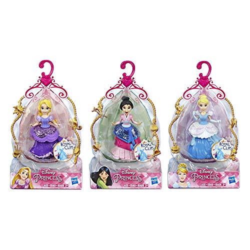 Disney Princess Royal Clips Small Doll Multipack, Rapuzel, Mulan, Cinderella