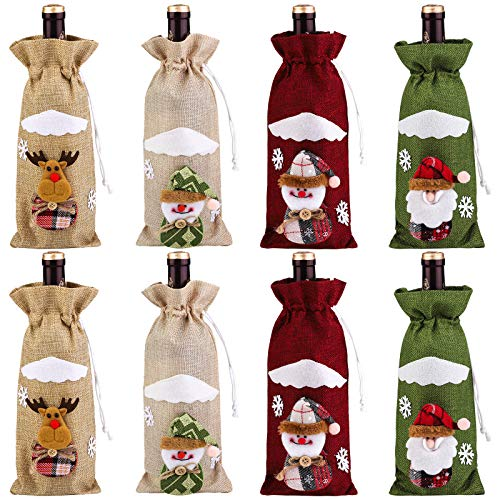 Elcoho 8 Pack Wine Bottle Cover Bags Santa Reindeer Snowman Pattern Christmas Party Table Decoration Christmas Wine Bottle Gift Bags for Home Dinner Party Decoration