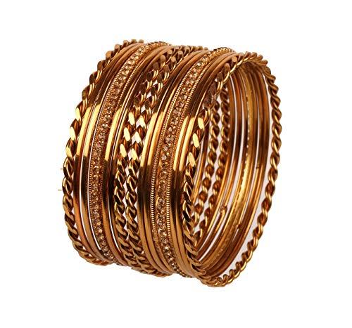 Touchstone Armreif-Kollektion Indisches Bollywood, klares Rheinland und Zickzack-Designerschmuck-Armreifen für Damen 2.25 Set von 18 Golden