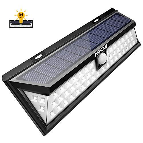Lampada Solare 54 LED, Lampada Energia Solare Esterno Impermeabile IP65 con Sensore di Movimento, Luce Solare da Esterni, Lampada Pannello Solare per Parete Scale