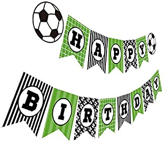Soccer Birthday Banner, Soccer Theme Happy Bday Bunting Sign, Soccer Party Decoration