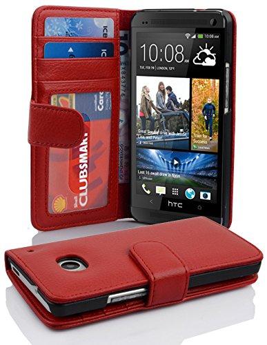 Cadorabo Hülle für HTC ONE M7 (1. Gen.) - Hülle in Inferno ROT – Handyhülle mit 3 Kartenfächern - Case Cover Schutzhülle Etui Tasche Book Klapp Style