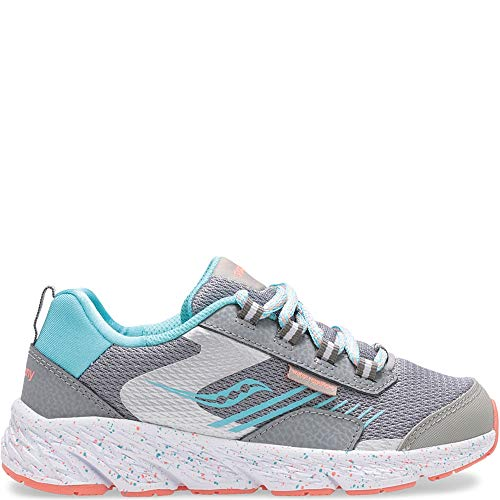 Saucony Kids' Wind Shield, Sneaker, Grey/Turquoise, 13.5