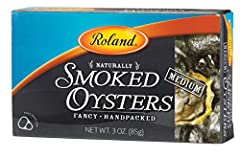 Roland Smoked Oysters are carefully harvested from pacific waters. They are cherrywood smoked and packed without shells. They have a dark brown color, mild flavor and firm (not chewy) texture Made ready to eat, Roland Smoked Oysters are convenient fo...