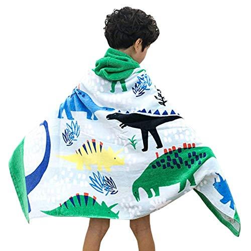 Comfysail 100% Baumwolle Kinder Kapuzen Poncho Handtuch Bade Badetuch für Jungen und Mädchen von 2-7 Jahren Strand 76 * 127cm (Dinosaurier)