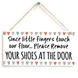 Meijiafei Since Little Fingers Touch Our Floor Please Remove Your Shoes at The Door - Super Cute Design Welcome Plaque 10'x5'