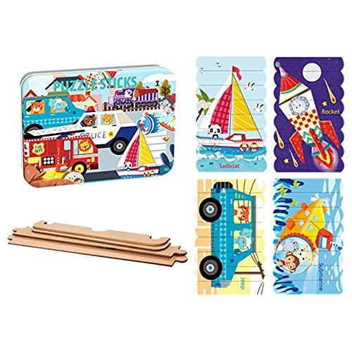 Puzle rectangular de madera para niños, diseño de dinosaurios y princesas