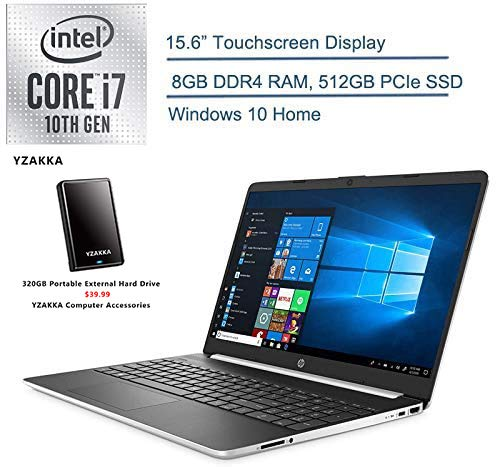 "2020 HP 15.6"" Touchscreen Laptop Computer/ 10th Gen Intel Quard-Core i7 1065G7 up to 3.9GHz/ 8GB DDR4 RAM/ 512GB PCIe SSD/ 802.11ac WiFi/ Silver/ Windows 10+ EST 320GB External Hard Drive"