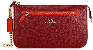 f8851022d7b91 COACH Women s Color Block Polished Pebbled Leather Nolita Wristlet 24 LI  Black Cherry Clutch
