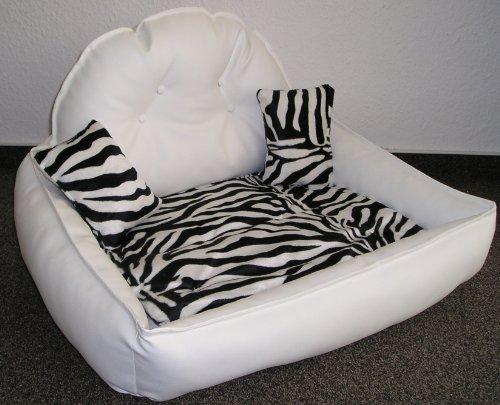 Hundesofa Schlafplatz Prestige Lounge Kunstleder Farbe Weiss Zebra