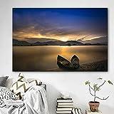 N / A Paisaje Océano Barco y montaña Puesta de Sol Lienzo Pintura Sala de Estar Dormitorio Imagen de la Pared Decoración del hogar Sin Marco 40x60cm