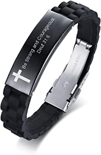 MEALGUET Black Religious Quote Faith Christian Bible Verse Inspirational ID Wristband Cross Bracelets for Men Dad