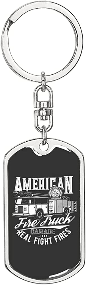 Llavero de bomberos americano de acero inoxidable o oro de 18 quilates para perro
