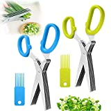 Kräuterschere, blau-grün, für Kräuter, Salat, kulinarische Schneideschere, 2...
