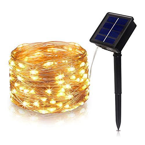 Tasodin Solar Powered LED String Lights, 32.8Ft/10M 100LEDs 8 Modes Solar Fairy Lighting, Waterproof Bright Warm White Color, Micro String Copper Wire Ultra Thin Rope Light
