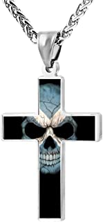Wine Jianxian Scottish Flag Skull Cross Pendant Jewelry Zinc Alloy Prayer Necklace For Men Women With Necklace,24 Inch