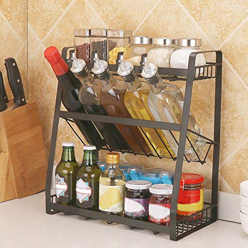 3-Tier Standing Spice Rack,BLACKOBE Multi-Functional 3-Tier Metal Seasoning Condiment Rack, Kitchen Supplies Collection,Jars Bottle Storage Holder for Kitchen, Dining Room, Canteen 13.8x7x15in