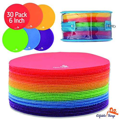 GIFTABLE THINGS Carpet Sit Spot Markers | 6' 30-Pack for Classroom and Kids with Carry Bag | Educational Circle | Preschool Activities | 6 Vivid Colors | Play and Game for Kids!!!