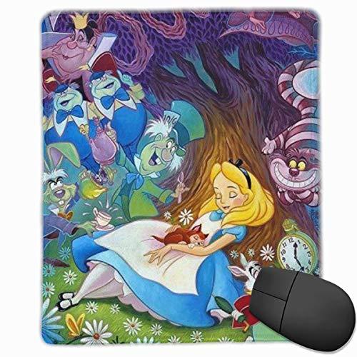 Alfombrilla de ratón de goma antideslizante con borde de bloqueo, diseño de Alicia en el País de las Maravillas