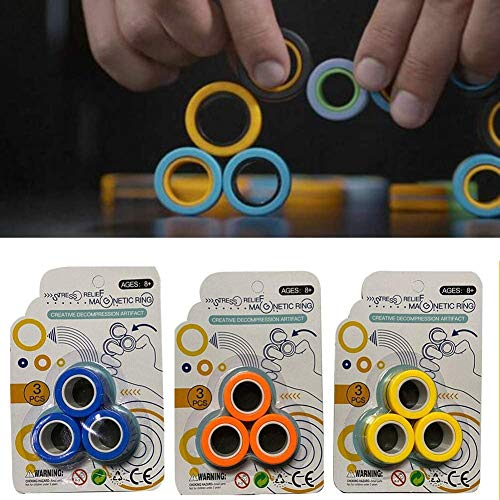 Dragon Honor Anti-Stress Finger FinGears Magnetic Rings For Autism Anxiety Relief Focus Toys -Magnetic Bracelet Ring Unzip Toy Magical Ring Props Tools, Stress Relief Fidget Sensory Toys Set