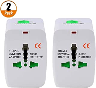 2Pcs International Travel Adapter, Worldwide All in One Universal Power Plug Converter Wall Charger Covers EU, Australia, China, Japan, UK, US, Europe Compatible with iPhone, iPad, Samsung
