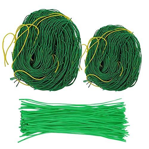mengger 2Pcs Garden Netting Climbing Plants Netting for vegetables Nylon Trellis Netting Pea Netting for Bean fruit bushes strawberry 1.8 * 3.6m,1.8 * 1.8m with 100Pcs Plant binder
