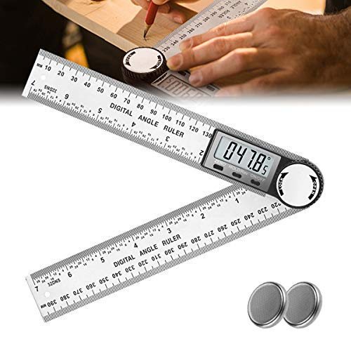 Digital Angle Finder Protractor for Woodworking, 2-in-1 Angle Finder Ruler for Carpenter/Construction/DIY, 7inch Stainless Steel 360 Degree Angle Gauge Goniometer with Large LCD Display