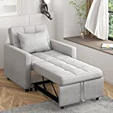 POVISON 29.9'' Convertible Sofa Chair Bed 3-in-1, Sleeper Chair Bed, Pull Out Sleeper Chair, Folding Single Sofa, Recliner, Bed, Armchair for Small Space (Grey)