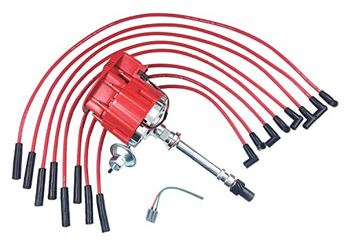 A-Team Performance Super HEI Distributor and Red 8mm Spark Plug Wires Set Straight Boot Kit Compatible with Big Block BBC Chevy Chevrolet 396 454