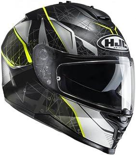 HJC Helmet Motorrad-Helm IS-17 Daugava, Black/fluo Yellow, Größe S