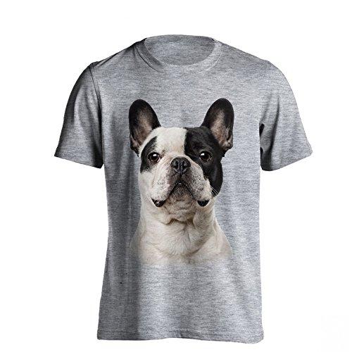 The T-Shirt Factory - Camiseta Modelo Bulldog Francés para Hombre (S) (Gris)