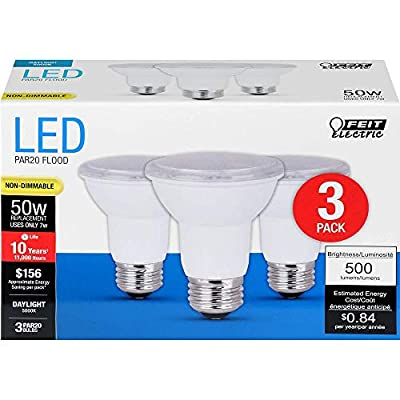 FEIT ELECTRIC PAR2050/850/10KLED/3 50W Equivalent 7 Watt 500 Lumen Non-Dimmable PAR20 Flood LED Light Bulb, 5000K Daylight, 3 Piece
