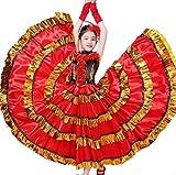 ZYLL Traje de la Danza del Vientre, Flamenco español Tradicional Satinado Suave oscilación más el tamaño de la Falda del Vestido,540°,140CM