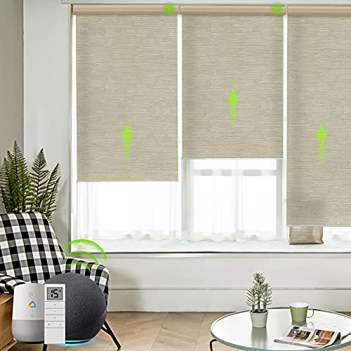 Yoolax Motorized Blinds for Window with Remote, Smart Shades Work with Alexa Google Home 50%...
