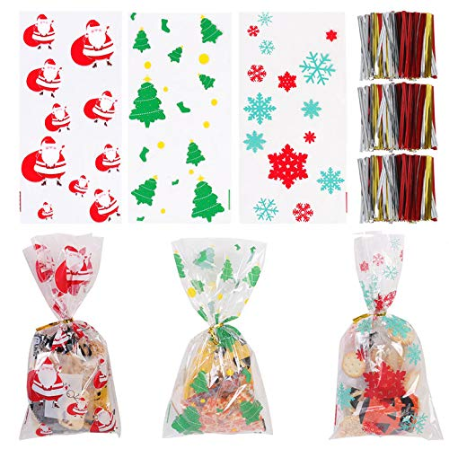 150Pcs Christmas Cellophane Bags, 10.6 x 5 Inch Christmas Cellophane Treat Bags Christmas Cello Candy Bags with 200Pcs Twist Ties, Xmas Goody Bags, Holiday Goodie Bags and Christmas Party Favors