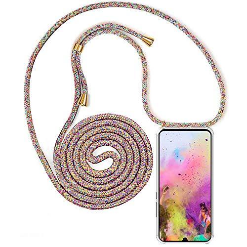 YuhooTech Handykette Handyhülle Kompatibel mit Huawei Honor 10, Smartphone Necklace Hülle mit Band - Handyhülle mit Kordel Umhängenband - Schnur mit Case zum umhängen in Rainbow
